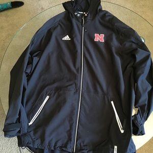Adidas Nebraska Hooded Full Zip Jacket Men's XL